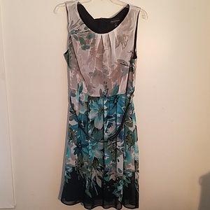 Blue and gray sleeveless dress